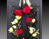 Sweet Gingham Summer Wreath Spring Wreath tulips front door wreath floral wreath