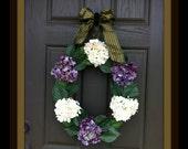 Hydrangea Spring Wreath Summer Wreath Front Door Wreath Silk Floral Wreath