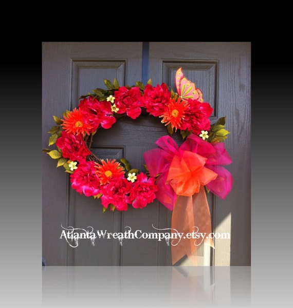 CLEARANCE Spring wreath, floral wreath front door wreath, summer wreath