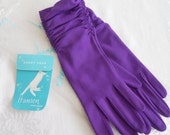 Reserved for Kim.  Vintage Ladies Purple  Gloves with Wrist Gathering.