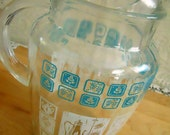 1950's Retro Kitchen Design Glass Pitcher.