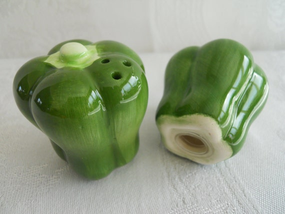 Vintage Green Pepper Salt and Pepper Shakers.