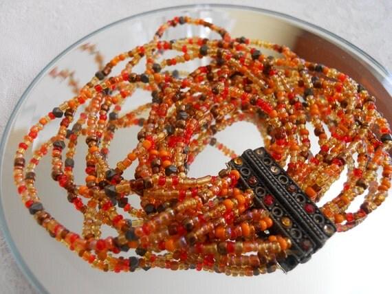 Vintage 12 Strand Bead Bracelet.