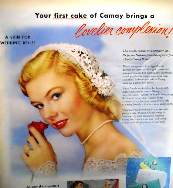 Vintage Bride Camay Magazine Advertisment/Soap / Veil/Pin Up /1950's/Vintage Bathroom Decor