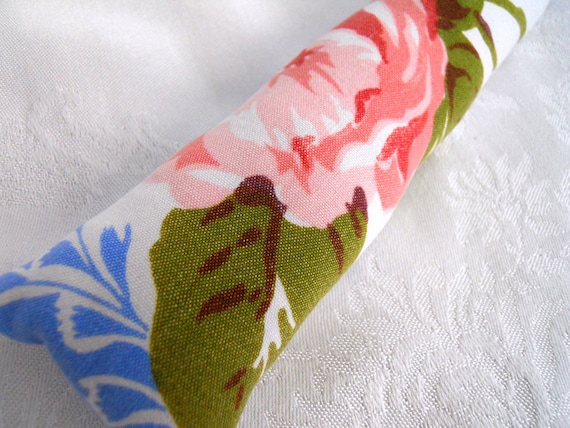 Vintage Fabric Catnip Cat Toy. Body Pillow.  Pink Rose With Blue Sprays.