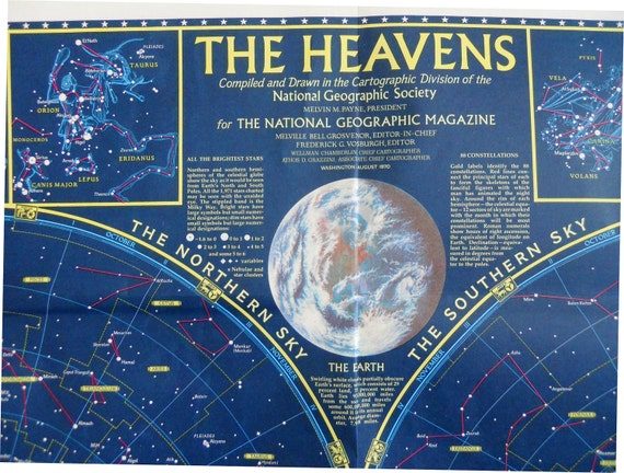 The Heavens Map.  1970 National Geographic.