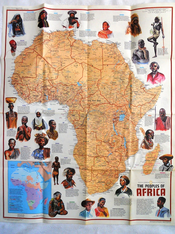 African Map/ People Heritage/ Collectible/ World Map/  Double Sided.  1971 National Geographic.