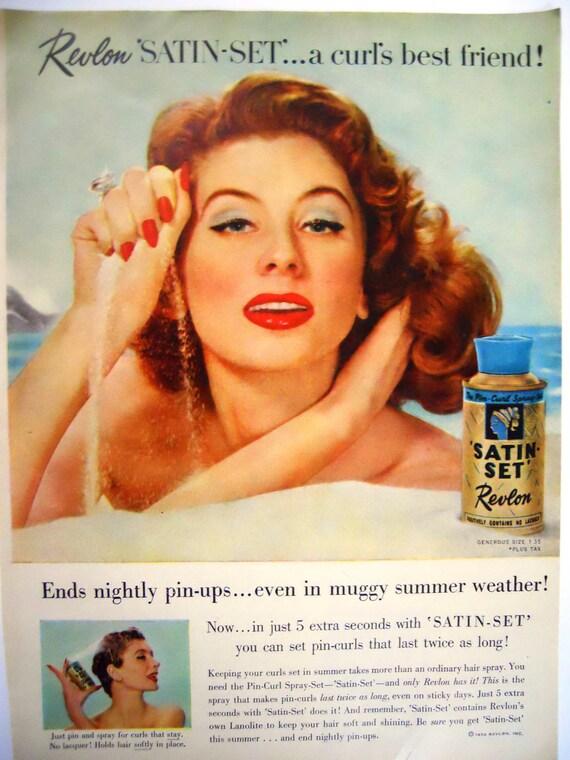 Vintage Revlon Magazine Advertisment/ Vintage Bathroom Decor/ Hair Spray/ 1956
