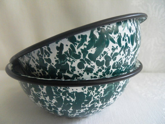 Green Graniteware Splatterware Bowls.  Set of Two.