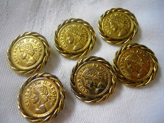 Vintage Queen Elizaeth II Regina Gold Coin Shank Buttons. 1960's. Set of Six.