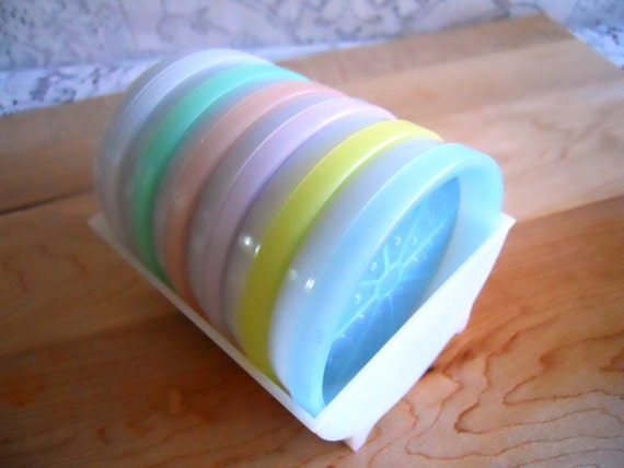Tupperware Coaster Set.  Pastel Colors.