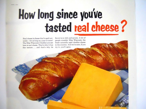 Love Cheese.  Miss Wisconsin Cheddar Cheese Magazine Ads.