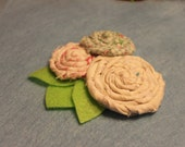 3 Fabric Rosette Hair Clip.