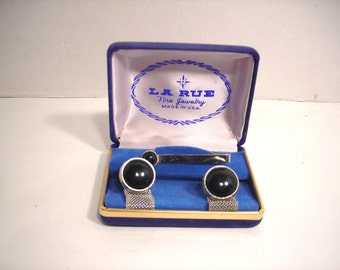 La Rue Black Onyx Cuff Links & Tie Bar Boxed Set