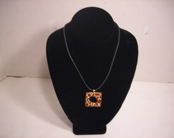 """15"""" Giraffe Print Enamel and Goldtone Necklace with Black Braided Chain"""