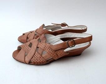Vintage wedge strap sandals // leather sandals // peep toe // sling back