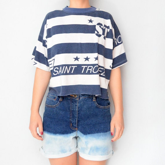 RESERVED for Fatuma Vintage Navy 90s Cropped Tshirt St Tropez