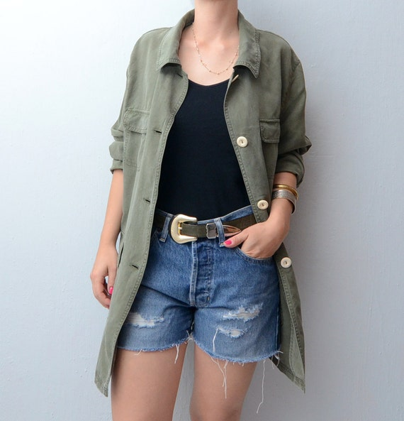 Vintage Olive green Military style Jacket