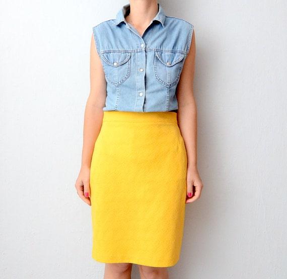Vintage Yellow textured pencil skirt