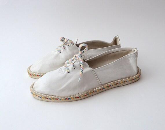 Vintage white leather 80s espadrilles