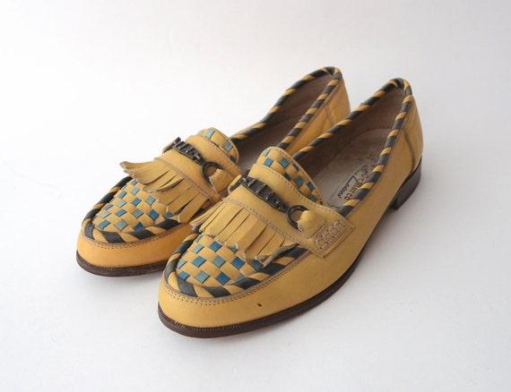 Vintage Mustard Kilt leather penny loafers / Slip-on leather flats