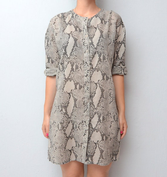 Vintage snakeskin print shirt // dress // tunic