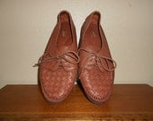 SALE 80s Brown Leather Oxford Loafers 8