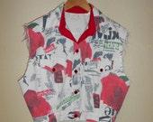 Vintage 90s Reconstructed Distressed Graffiti White Denim Vest M