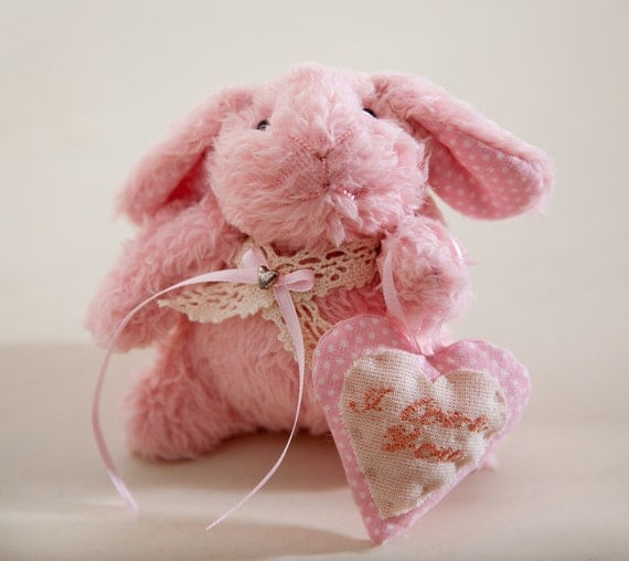 Toy rabbit. Pink bunny. Bunny rabbit handmade with a heart in a gift box, Child's Room Decoration, Heart
