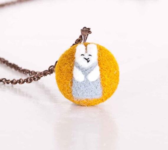 Felted Jewelry, Yellow Jewelery, Little Bunny, Pendant Handmade