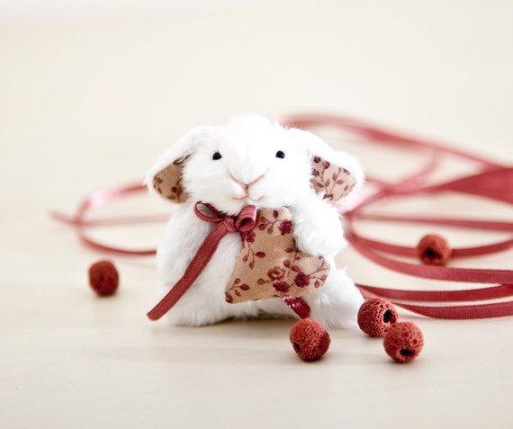 Little bunny, Miniature bunny rabbit handmade with a heart in a gift box, Cute bunny, White Rabbit, Heart
