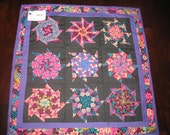 Purple, Pink, Aqua and Black Kaleidescope Wall Hanging