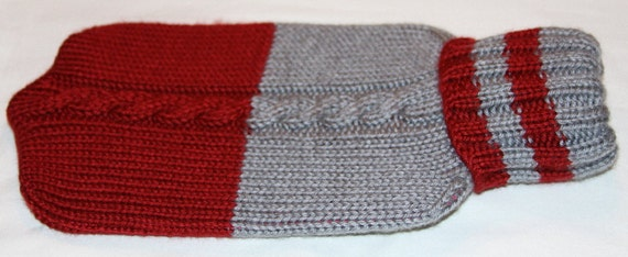 ON SALE...Two tone Cabled Hot Water Bottle Cover