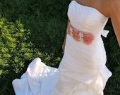 Bridal Wedding Sash - Pink Perfection with Pearl and Diamond Brooch