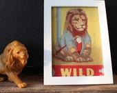 Vintage Lion Illustration on cardboard - Framed Picture - wild
