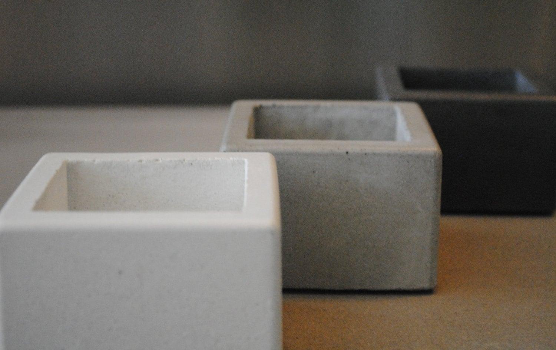 CLEARANCE SALE: Concrete Mini Planter / Square Starter Pot