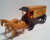 Vintage Toy  Processed Plastic Western Cowboy Horse Sierra Jacks Mining Wagon Yellow Brown Red