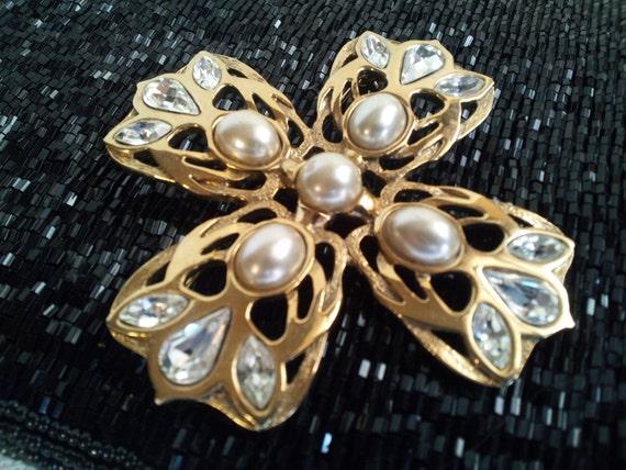 Vintage Gold Tone Rhinestone and Pearl Maltese Cross Brooch
