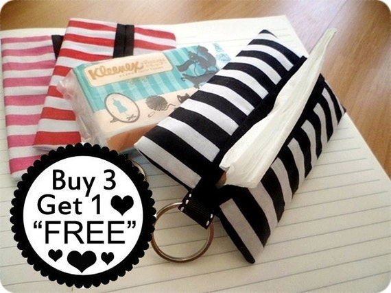 kleenex travel tissue holder, Tissue Holder , Fabric Tissue holder, Tissue Case, travel kleenex covers - Black Striped
