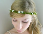 Fairy Moss Woodland Tiara - Rustic Bride Hair Accessory - White Green Woodsy Weddings