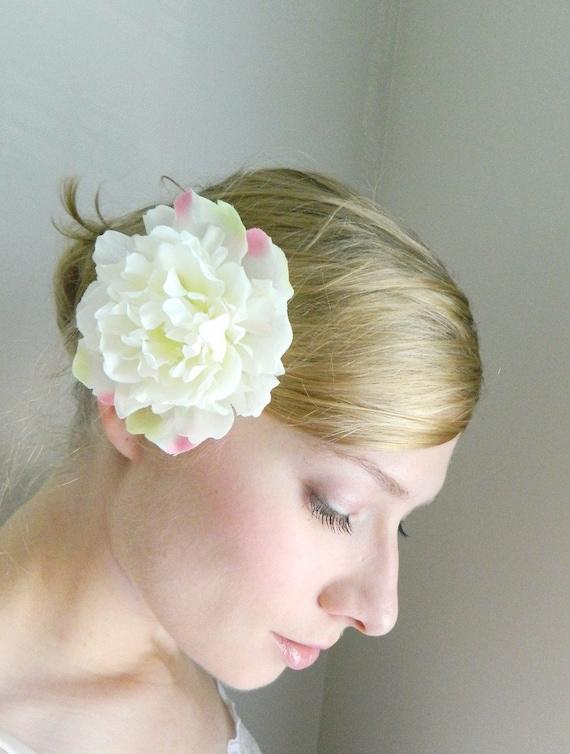 Cream and Pink Peony Hair Clip - Woodland Hair Accessory - Bride - Bridesmaid - White Bridal Hair Flower