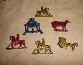 Vintage 1940s 50s Metal Miniature ToysTrinket Animals Diecast