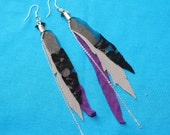 Graceful Warrior Feather-less Earrings - SteamPunk - purple grey black lace chain
