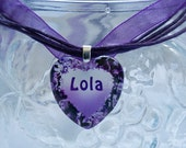 Personalised Glass Heart - Purple and Black