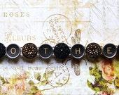 MOTHER TYPEWRITER Key BRACELET Victorian Vintage Black Gold Buttons ooak