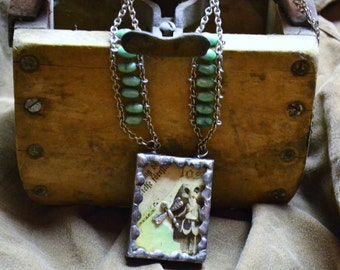 THE DRAGONFLY & I Soldered Glass Necklace ooak Unique Found Item Vintage Steampunk Shadow Box Rhinestone