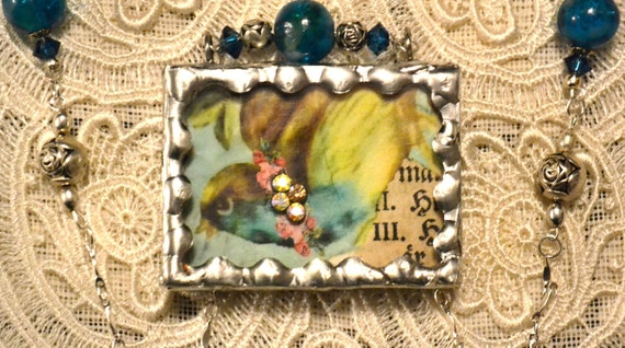 "Vintage VICTORIAN NECKLACE Soldered Silver Glass ""Ms. Fancy"" Bird Reversible Shadow Box Locket Rhinestone Roses OOAK"