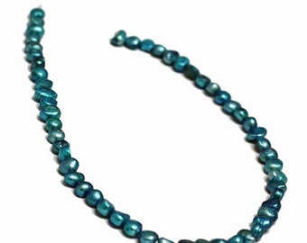 Pearl, cultured freshwater (dyed), Turquoise, 6-7mm Baroque Pearl. Sold per 14.5-inch strand.