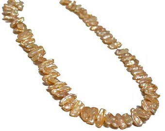 Pearl, cultured freshwater (Natural Color), pink, Biwa Pearl. Sold per 14.5 inch strand.- FREE SHIPPING