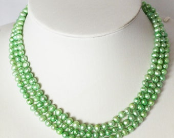Pearl Necklace - 17.5 inches-5-6mm, Light Green Freshwater Pearl Necklace- Free shipping